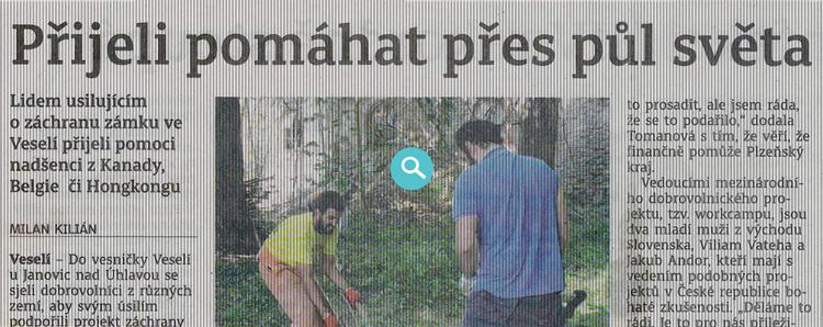 Článek v Klatovském deníku ze dne 17.8.2016